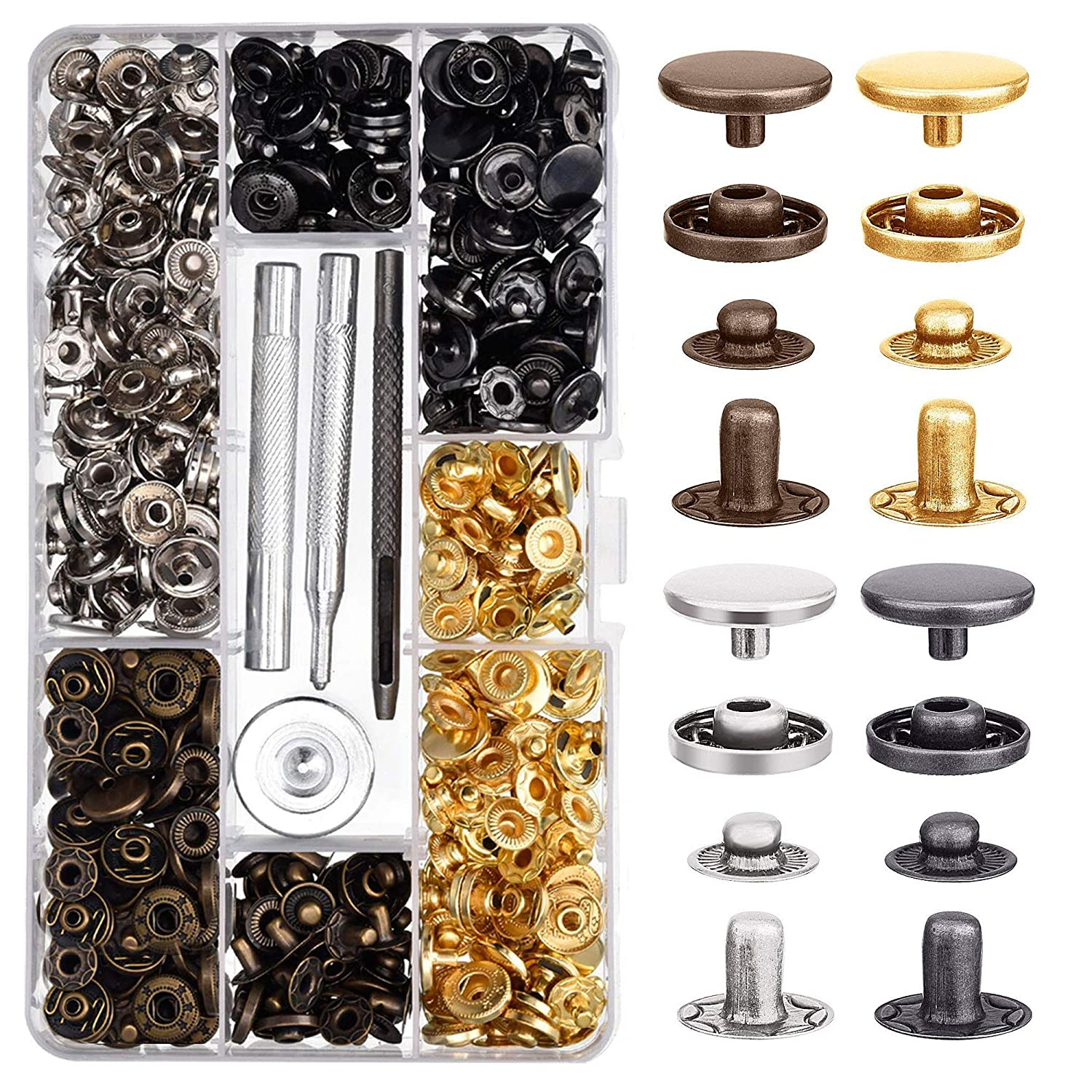Bavzerko 100 Sets Snap Fastener Kit Leather Snap Buttons Metal Snaps Press Studs with 4 Pieces Fixing Tools for Clothing Leather Bracelet Jeans Wear Jacket Bags Belts 633//12.5 mm in Diameter
