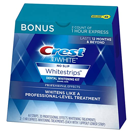Crest 3D White Professional Effects Whitestrips Whitening Strips Kit, 22 Treatments, 20 Professional Effects + 2 1 Hour Express Whitestrips best teeth whitening product