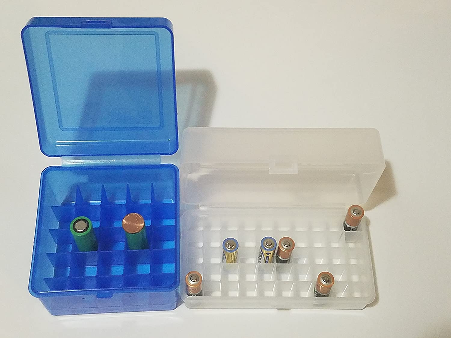 AA Clear Box for 50 Batteries /& 18650 Rechargeable Battery Plastic Storage Blue Box Container Holds 25 Batteries Holder Organizer Case Same Day Shipping