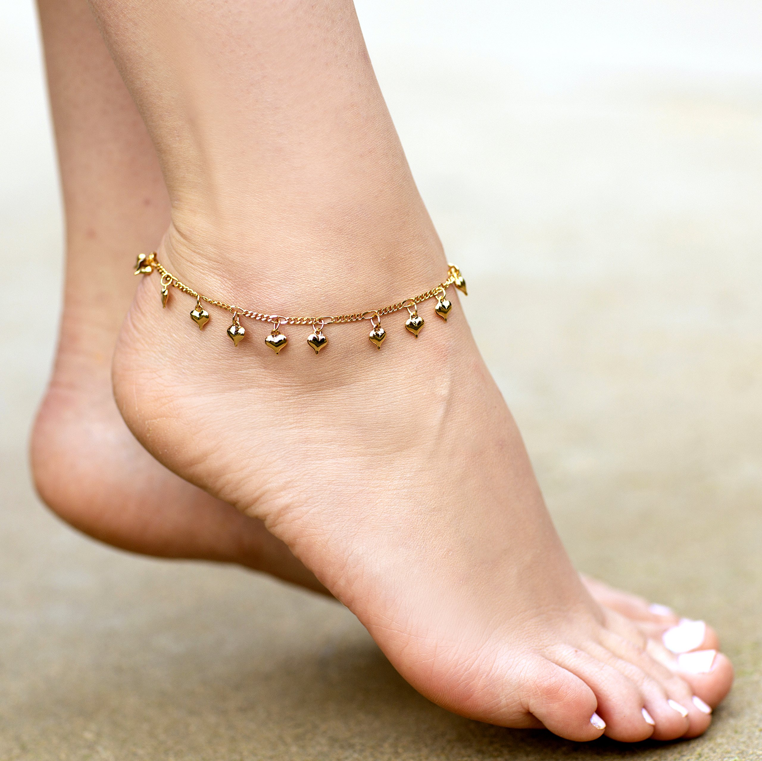 Lifetime Jewelry Anklets for Women and Teen Girls - 24K Gold Plated Chain with Dangling Hearts - Ankle Bracelet to Wear at Beach or Party - Cute Surfer Anklet - 9 10 and 11 inches (9) by Lifetime Jewelry (Image #7)