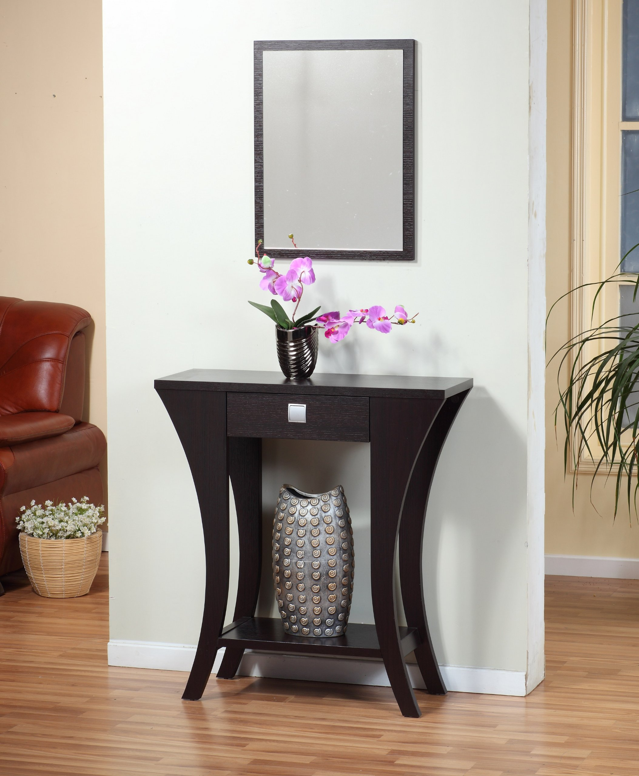 Cappuccino Finish Console Sofa Entry Table with Drawer by eHomeProducts