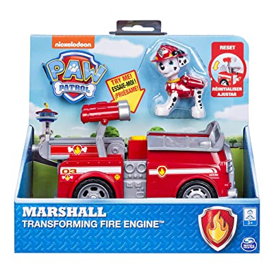 Paw Patrol, Marshall's Transforming Fire Truck with Pop-Out Water Cannons, for Ages 3 & Up: Toys & Games