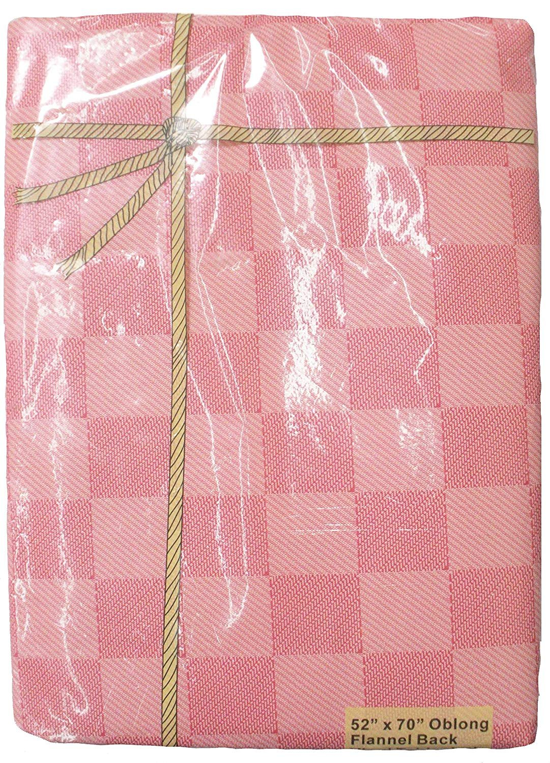 Outdoor Picnics /& Potlucks Party or Everyday Use-Rose Pink 52x70 J/&M Home Fashions 7518A Perfect for Spring Waterproof Spill Proof Check Plaid Vinyl Tablecloth with Flannel back 52x70 Summer Farmhouse D/écor
