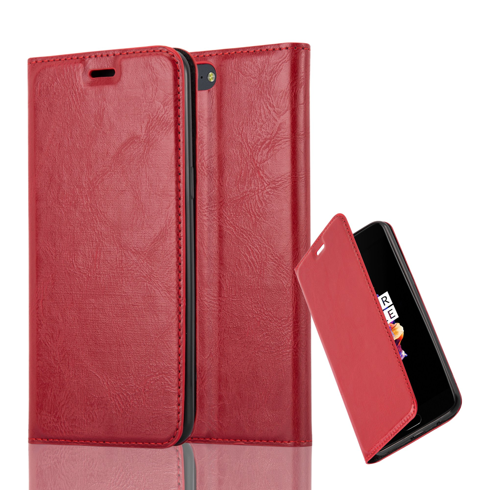 Cadorabo Case works with OnePlus 5 Book Case in APPLE RED (Design INVISIBLE CLOSURE) – with Magnetic Closure, Stand Function and Card Slot – Wallet Case Etui Cover PU Leather