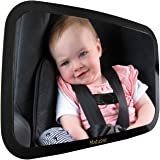 Baby Backseat Mirror For Car - Largest and Most Stable Mirror - Crystal Clear View of Infant in Rear Facing Car Seat - Safe, Secure and Shatterproof - Very Popular Baby Registry or Baby Shower Gift