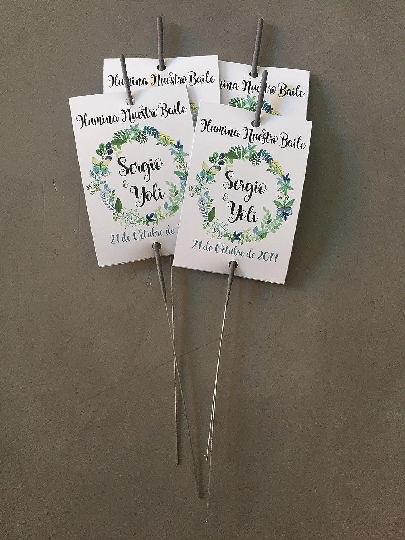 Bengalas con cartoncillo personalizado para bodas con corona de flores verdes