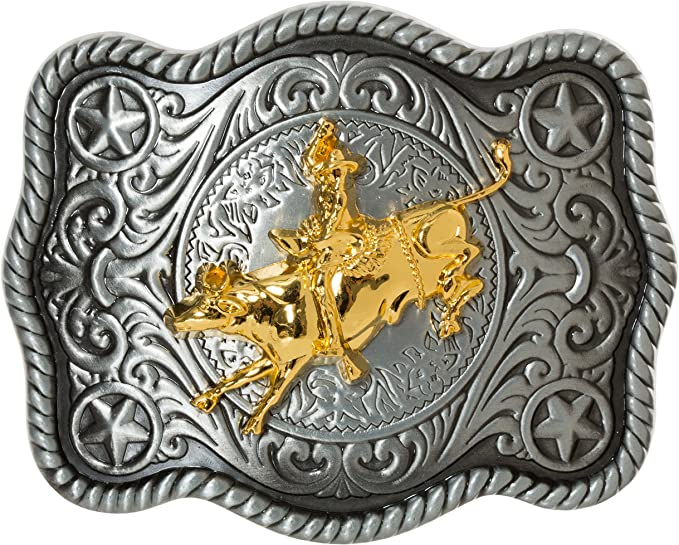 Boys Bull Rider Silver /& Gold Tone Western Belt Buckle //// Rodeo Buckle