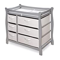 Badger Basket Sleigh Style Baby Changing Table with 6 Storage Baskets & Pad, Cool Gray/White