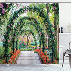 Ambesonne Garden Shower Curtain, Flower Arches with Pathway in Ornamental Plants Garden Greenery Romantic Picture, Cloth Fabric Bathroom Decor Set with Hooks, 70