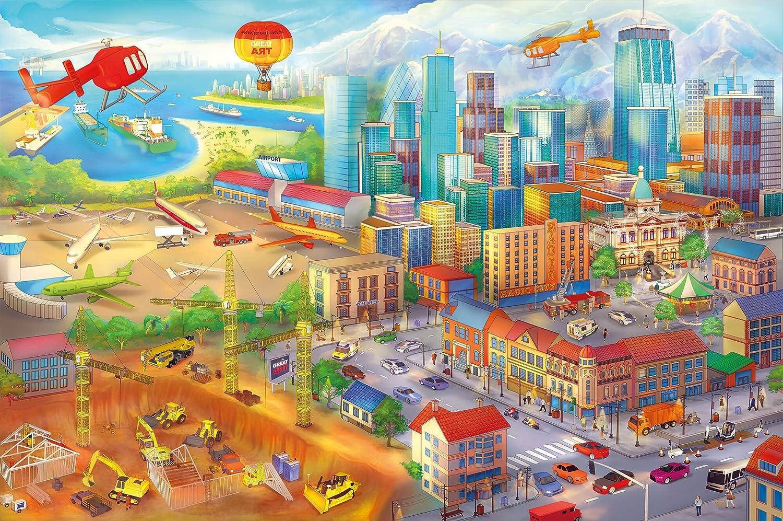 Fototapete kinderzimmer baustelle  Amazon.de: Poster Kinderzimmer comic style Wandbild Dekoration ...