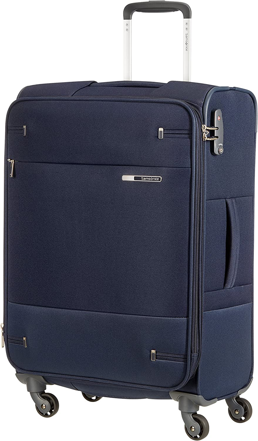 Samsonite Base Boost Spinner M Maleta Expansible, 66 cm, 67.5/73.5 L, Azul (Navy Blue)