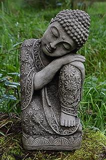 Garden Ornaments By Onefold BU31 Sleeping Welsh Stone Buddha Statue, Grey,  12x13x28 Cm