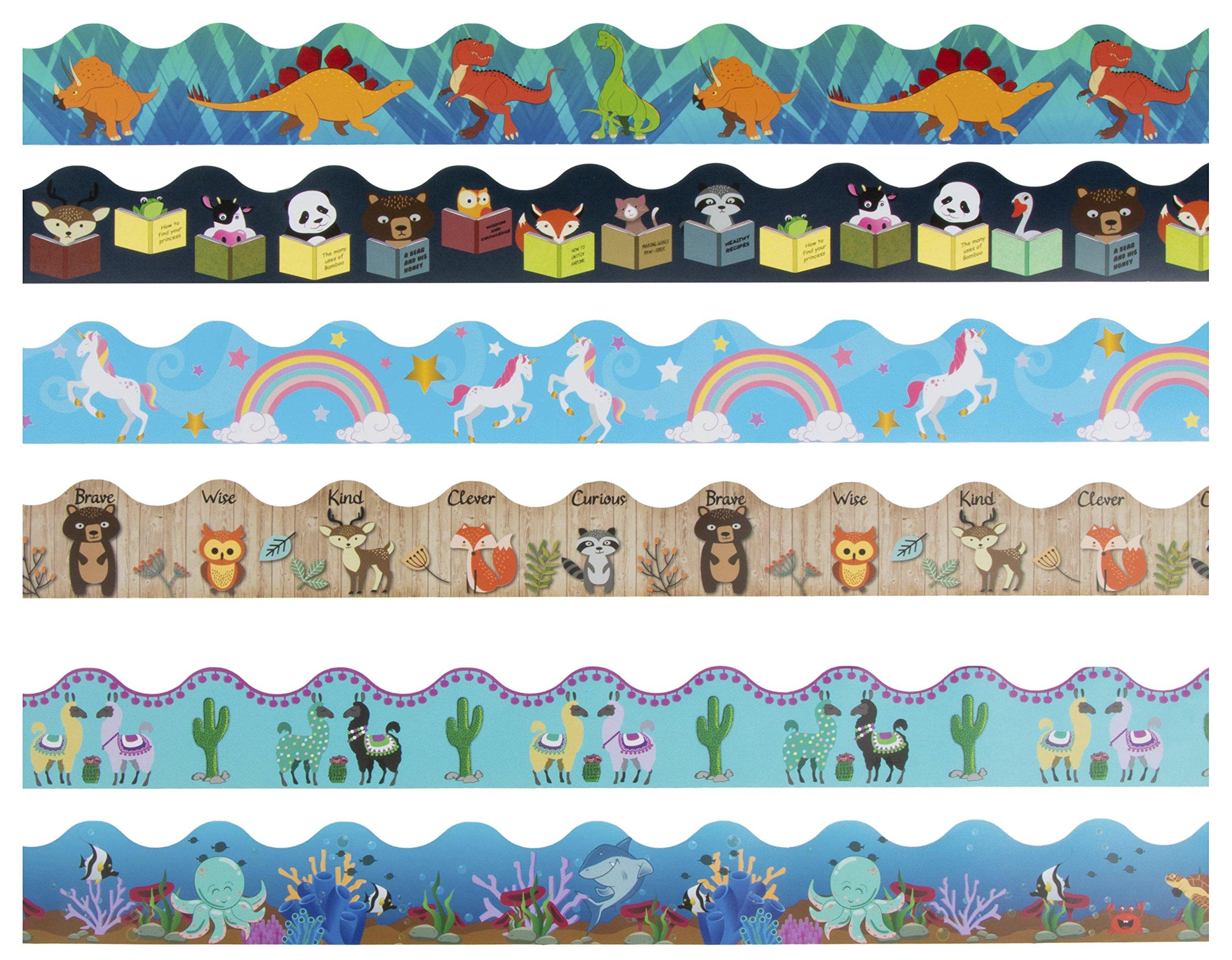 Bulletin Borders - 6-Pack Bulletin Board Borders, Cute Animals Theme Decorative Trimmers, Border Trim for Classroom, School, 2.25 x 36 inches