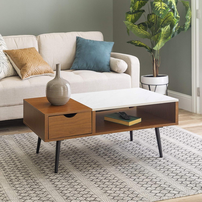 Walker Edison Mid Century Modern Coffee Table with Drawer Living Room Ottoman Storage Shelf, 42 Inch, Pecan/Marble