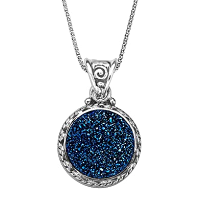 Amazon sajen natural steely blue druzy pendant necklace in sajen natural steely blue druzy pendant necklace in sterling silver 18quot aloadofball Images