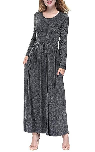 Dkbaya Petite Size Womens Plain Long Sleeve Loose Pleated Long Maxi