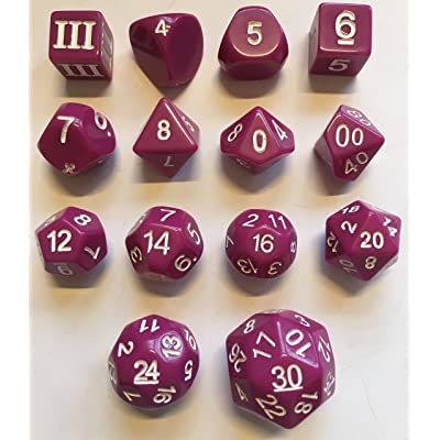 Impact! Miniatures Light Purple - 14 Unusual Dice Set Approved for Use with Dungeon Crawl Classics: Toys & Games