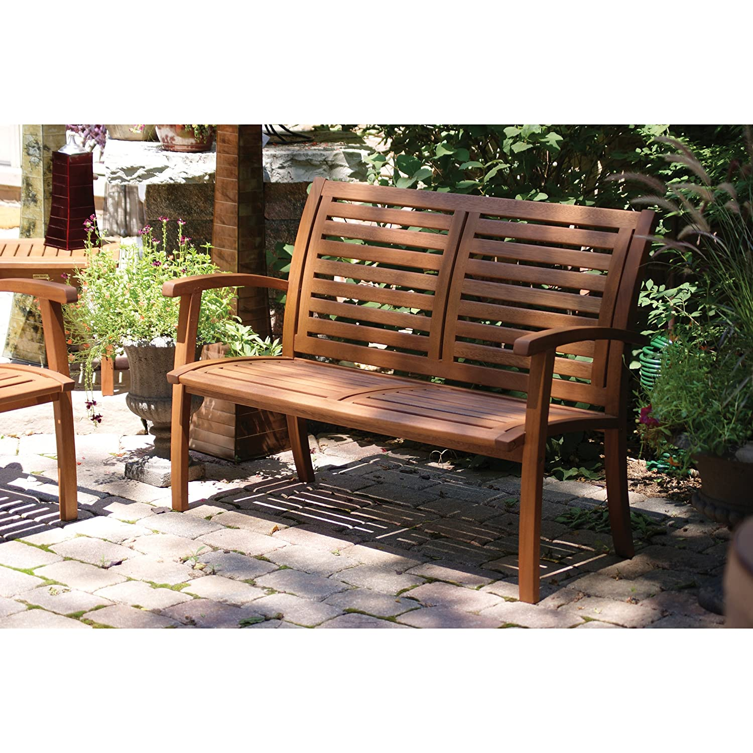 Amazon.com : Outdoor Interiors 21440 Luxe Eucalyptus Bench : Wood Bench :  Garden U0026 Outdoor