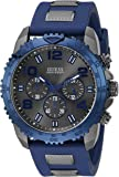 Guess Men's U0599G2 Silicone Sporty Multi-Function Analog Quartz Movement Blue Watch