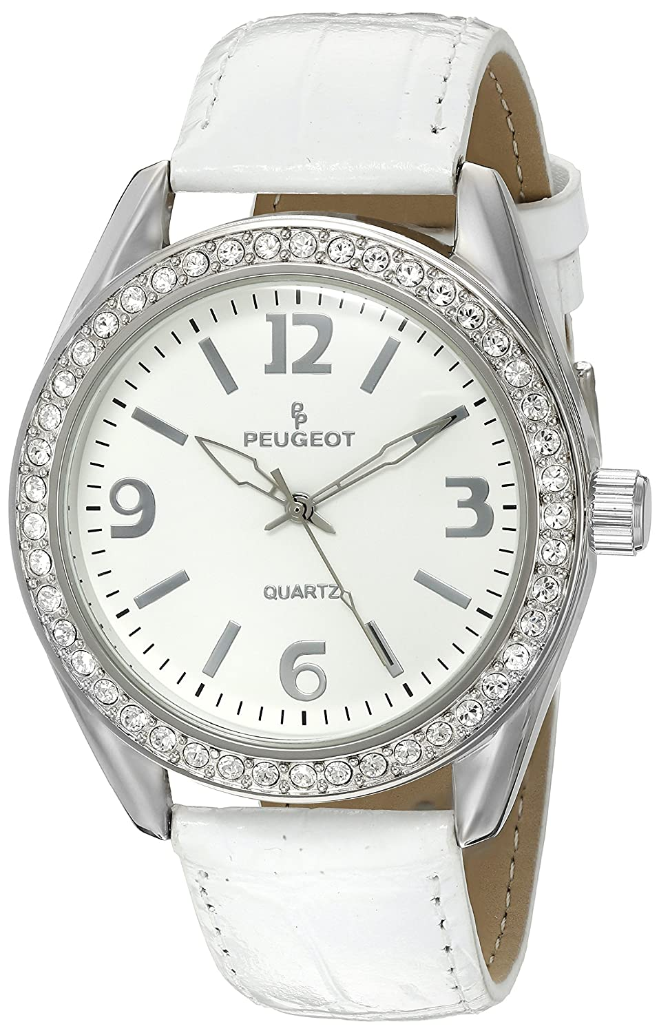 20fcd960d6736 Amazon.com  Peugeot Women s Large Silver Case Swarovski Crystal White Thick Leather  Band Dress Watch 3006WT  Peugeot  Watches