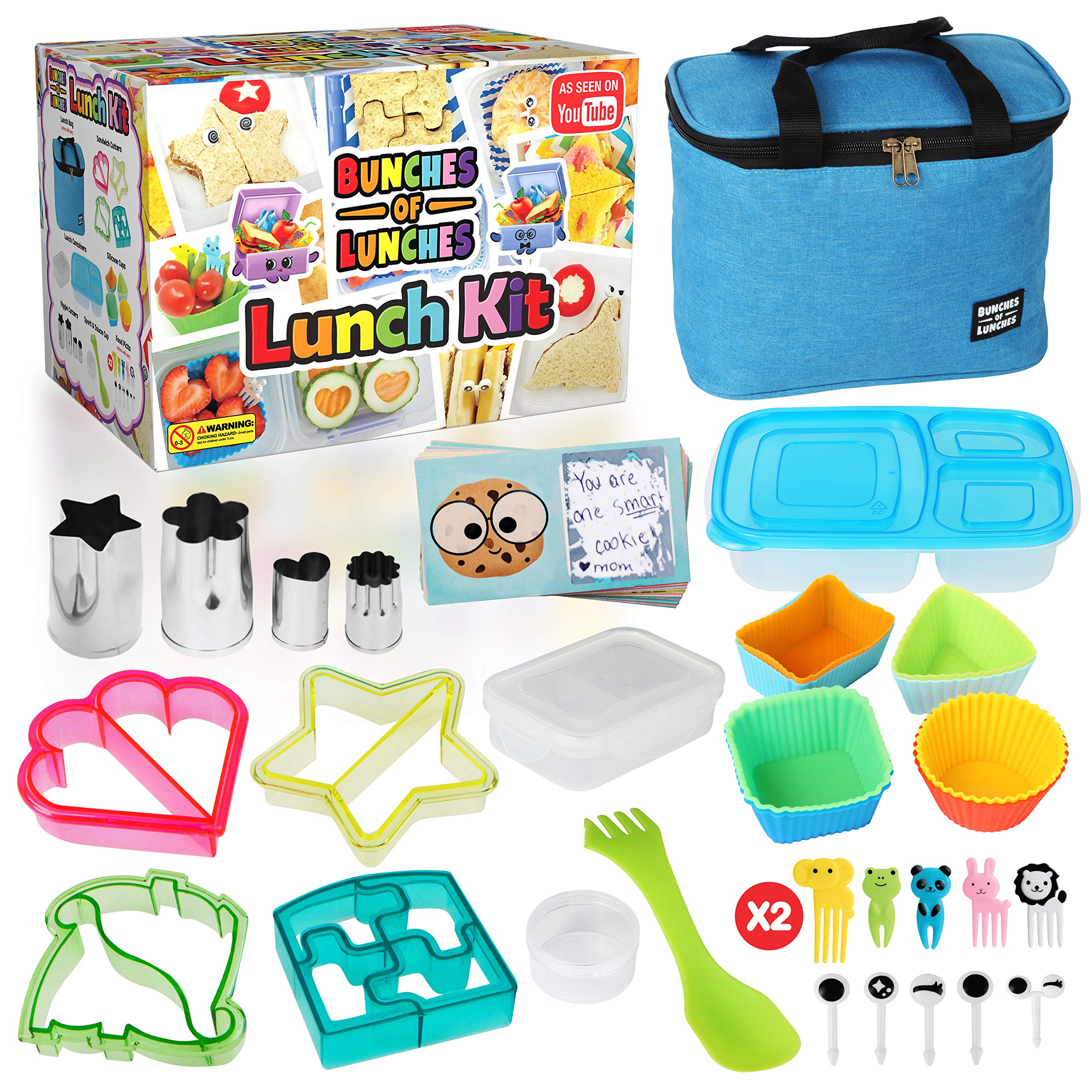 Bunches of Lunches Bento Box Lunch Kit for Kids - Insulated Kids Lunch Box with Fun Sandwich and Veggie Cutters Plus Food Picks, Silicone Cups and Cute Scratch-Off Note Cards (39 Piece Set) (Blue)