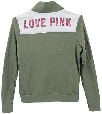 ae35dcc4d1e44 Victoria's Secret Pink Boyfriend Half-Zip Pullover Sweatshirt, Olive ...