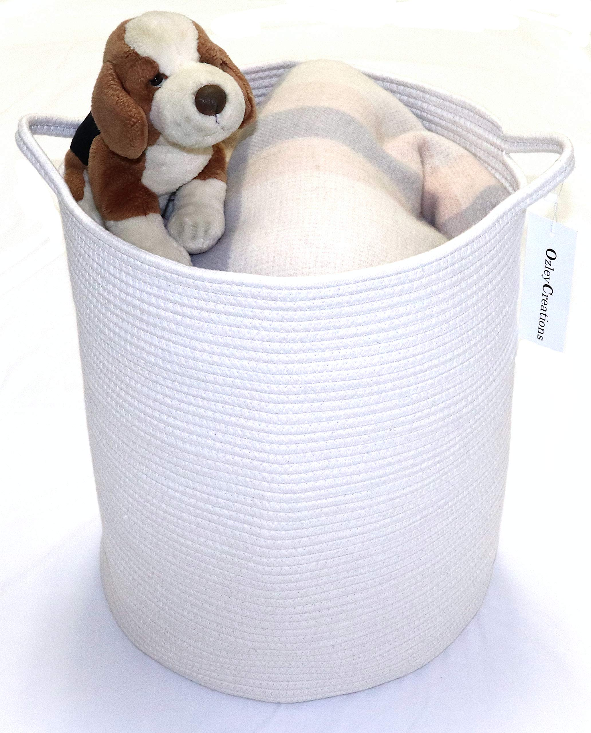 OZLEY Large Cotton Rope Basket | 18''x16'' | Woven Storage Basket for Baby, Kids, Toys, Living Room, Blankets, Laundry | White Nursery Hamper with Handles