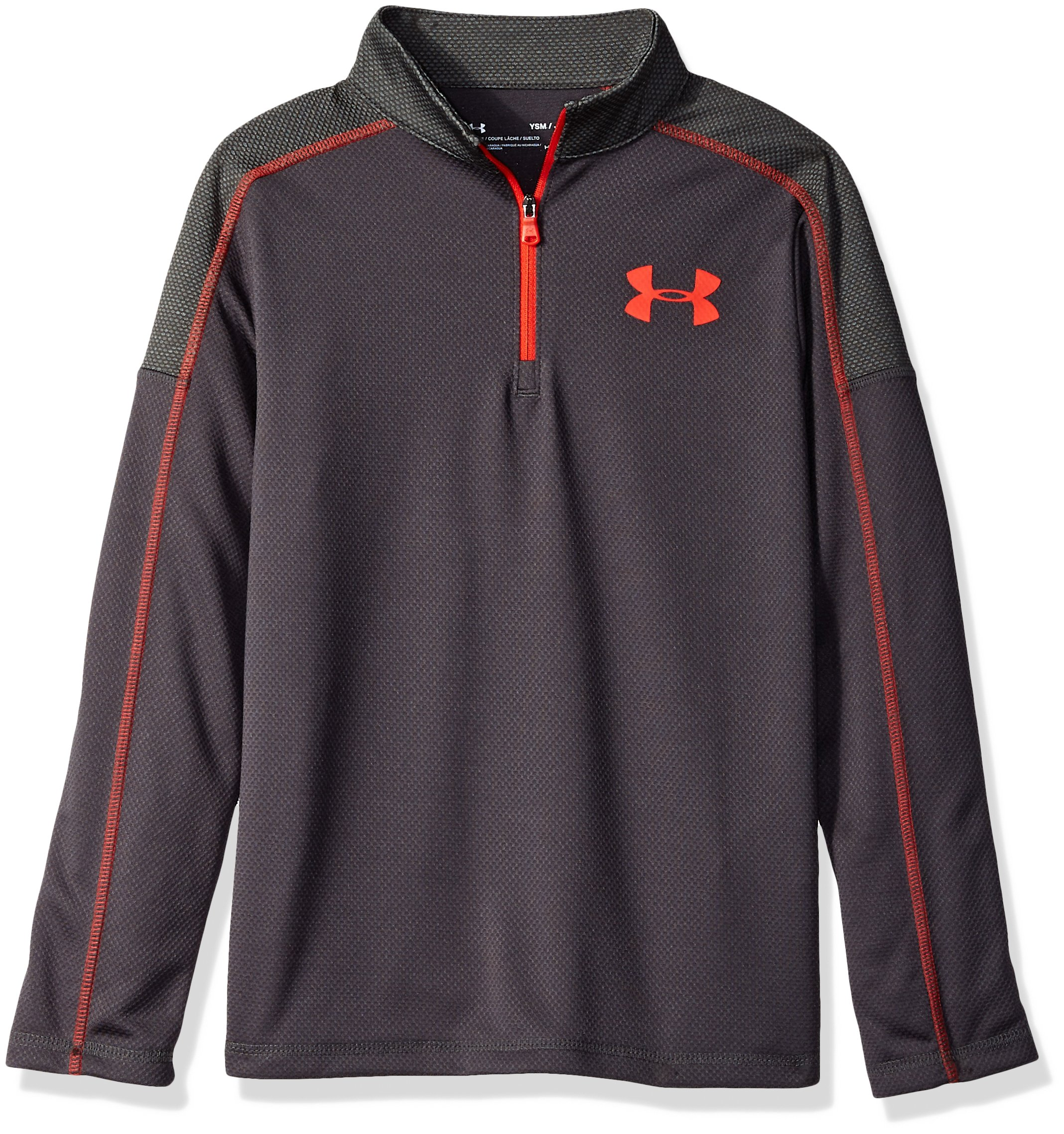 Under Armour Boys Tech 1/2 Zip, Charcoal (019)/Radio Red, Youth Medium