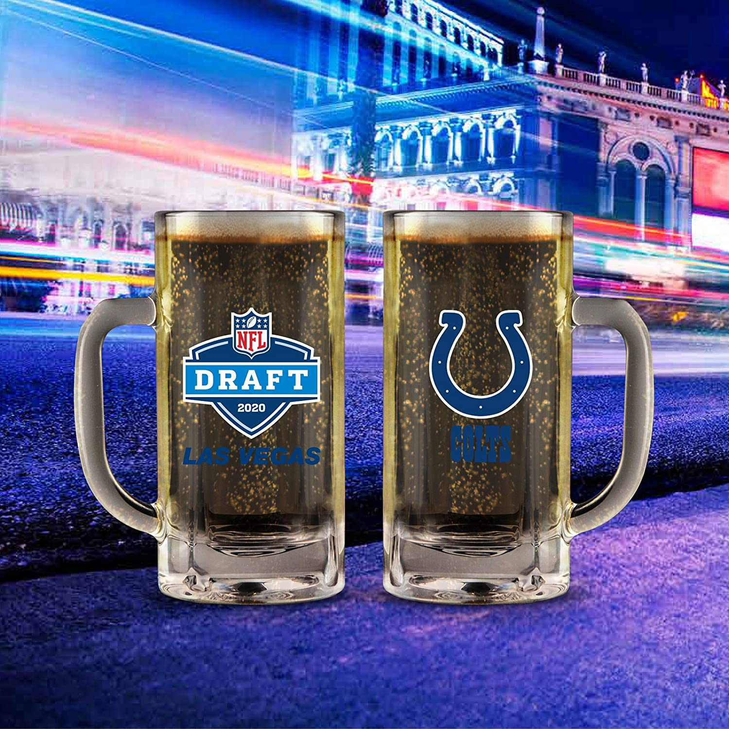 NFL Draft Mug 2020 20 Oz. Weighted Base Heavy Duty Glass with Handle