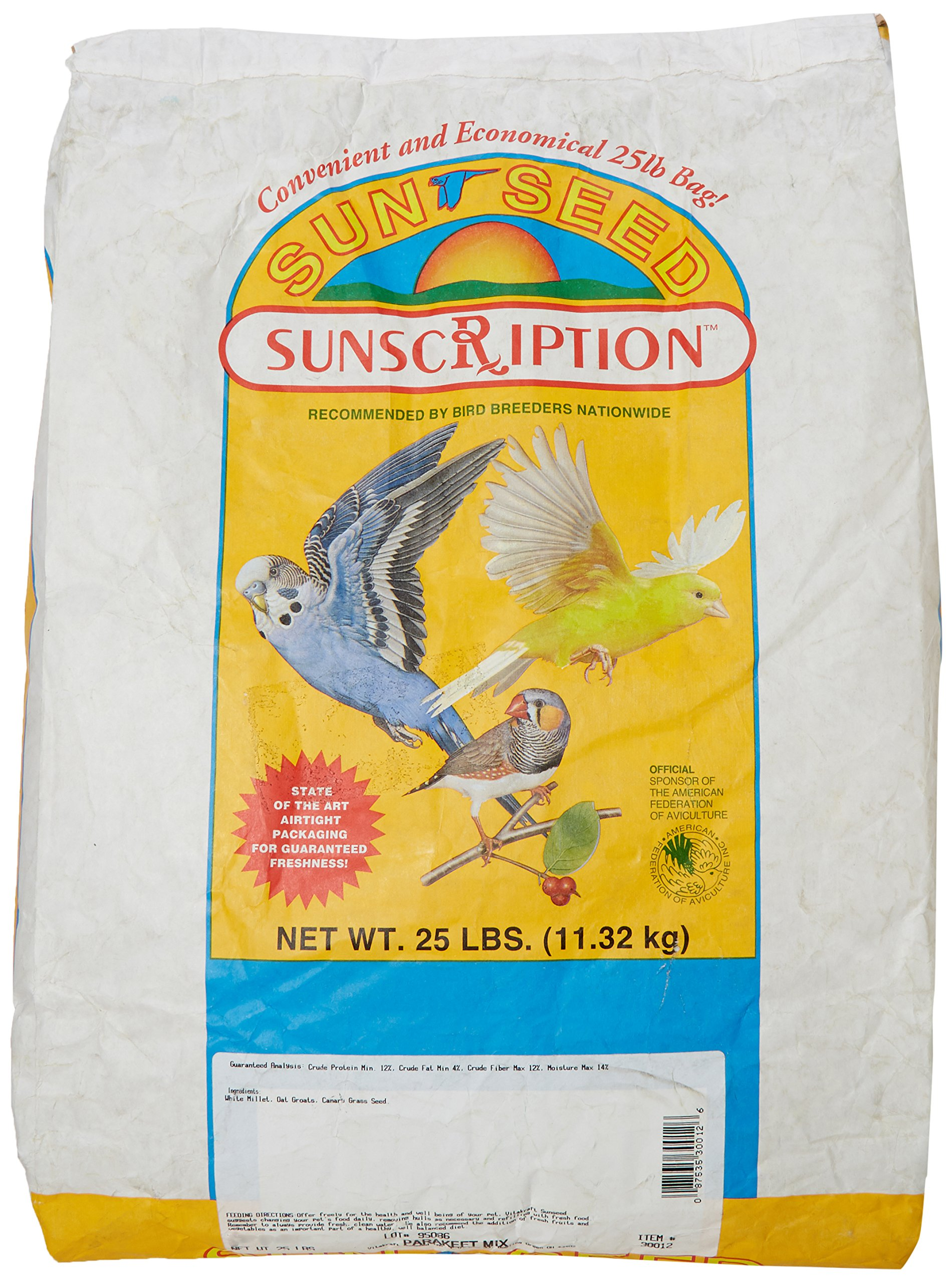 Sun Seed Company Bss30012 Economical Mix Parakeet Food, 25-Pound by Sun Seed