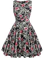 ACEVOG Women's Sleeveless Casual Loose Fit Printed Floral Dress (PAT2, M)