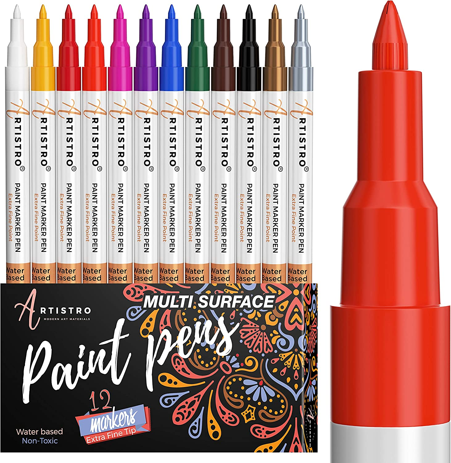 Acrylic Paint Pens for Rock Painting Kit Glass Wood Ceramic Fabric Canvas Stones