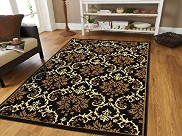 Large 8x11 Modern Rug Luxury Black Contemporary Rugs 8x10 Beige Cream For