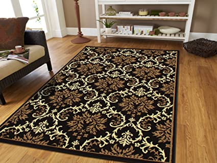 Amazon.com: Small Rugs for Bedroom Contemporary Rugs Black 2x3 Rug ...
