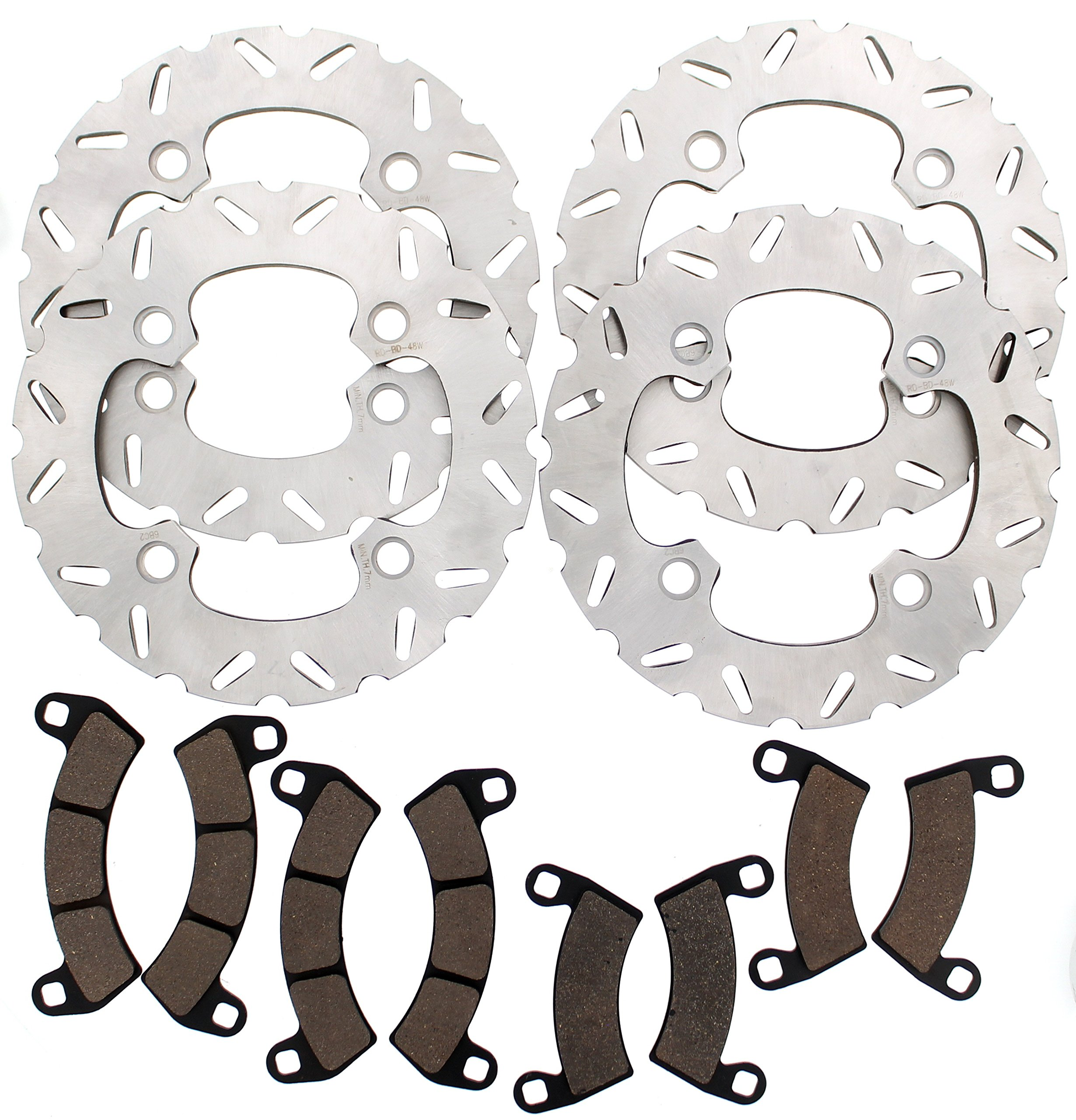 Polaris RZR XP Turbo EPS Front & Rear Semi-Metallic Brake Pads and Front & Rear Brake Sport Rotors