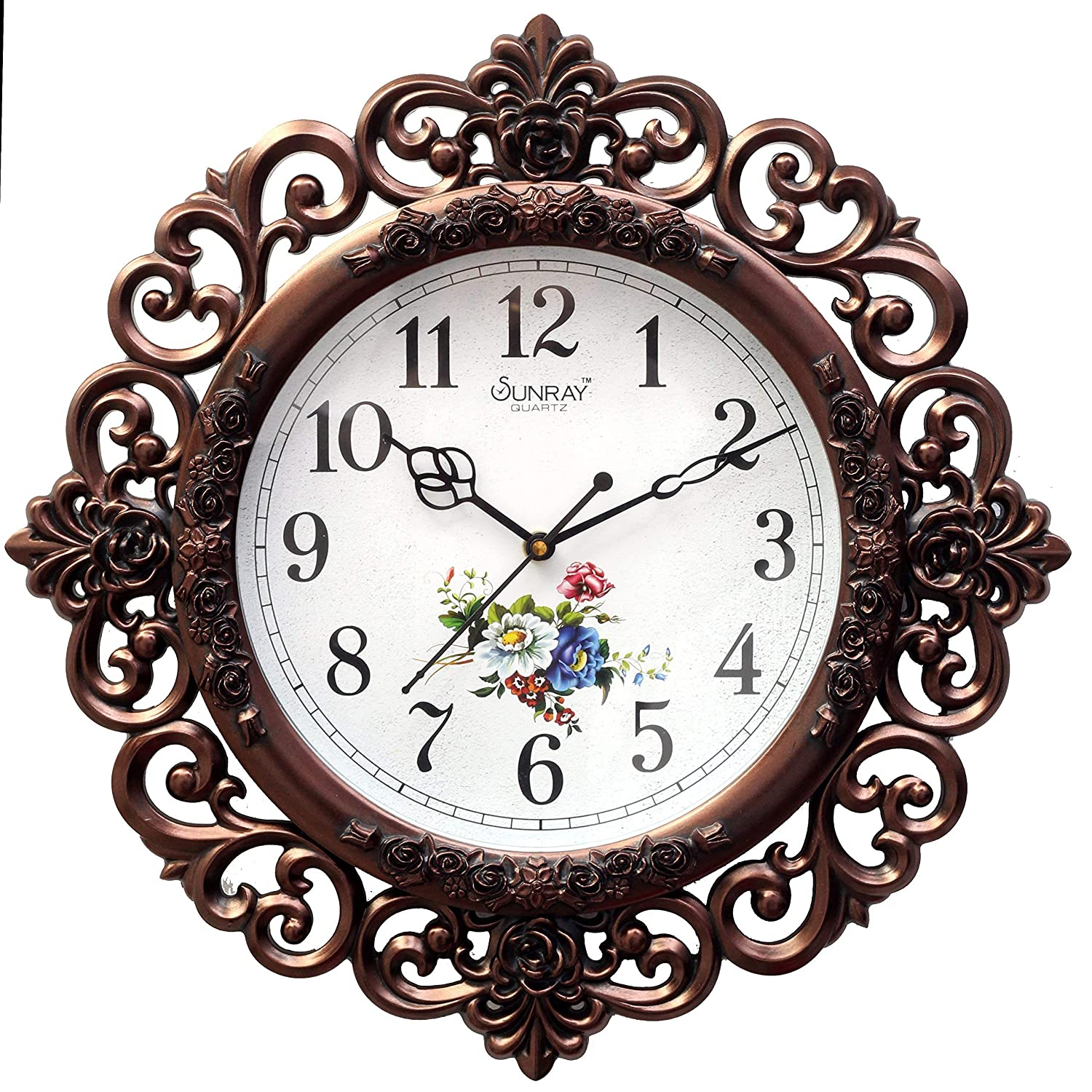 Buy E Deal Acrylic Floral Design Wall Clock Brown 30 X 36 X 5 Cm Online At Low Prices In India Amazon In