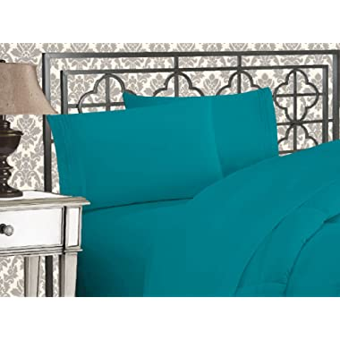Elegant Comfort Luxurious & Softest 1500 Thread Count Egyptian Three Line Embroidered Softest Premium Hotel Quality 4-Piece Bed Sheet Set, Wrinkle and Fade Resistant King Turquoise