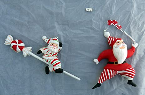 department 56 peppermint candy santa christmas ornament set of 2 - Peppermint Candy Christmas Ornaments