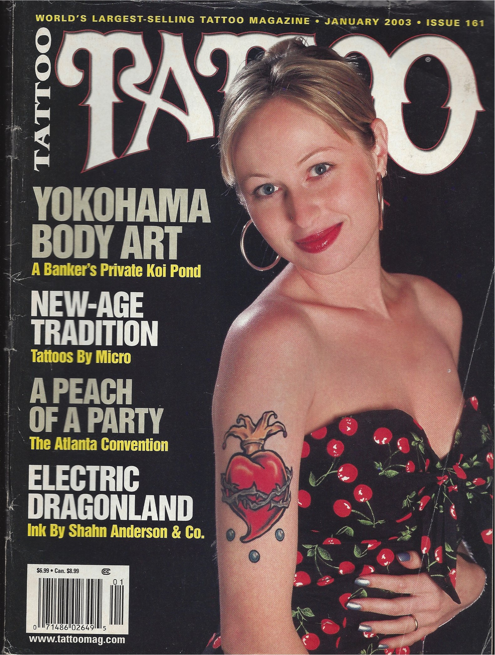 TATTOO Magazine January 2003 No. 161 (World's largest selling tattoo magazine, Yokohama body art, Tattoos by Micro, Electric Dragonland, Ink by Shahn Anderson)
