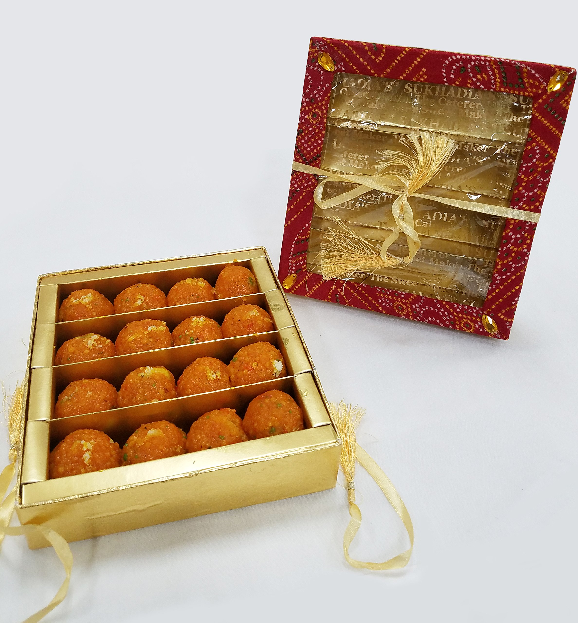 Sukhadia's Motichoor Ladoo Indian Sweet, Fancy Bandhani Box (20oz)