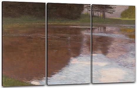 Printed Paintings Impresión Sobre Lienzo (80x60cm): Gustav Klimt - Una mañana en el Estanque (Ege: Amazon.es: Hogar
