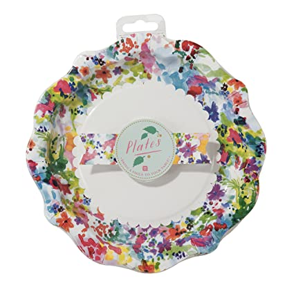 Talking Tables Floral Fiesta Large Colorful Disposable Plates 12 count for a Tea Party  sc 1 st  Amazon.com : large disposable plates - pezcame.com