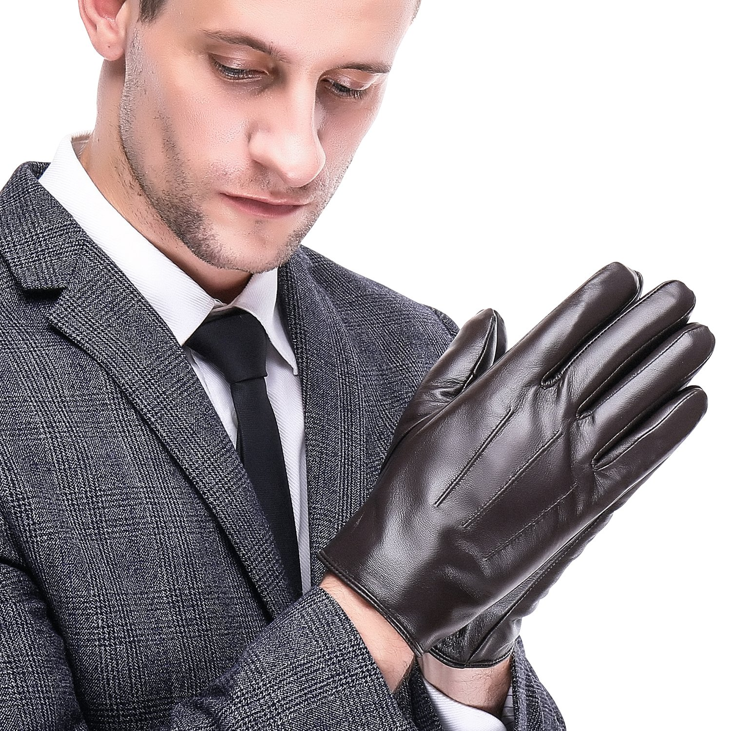 Leather Gloves for men,Anccion Best Touchscreen Winter Warm Italian Nappa Geniune Leather Gloves for Men's Texting Driving Cashmere/fleece Lining (Large, Brown)