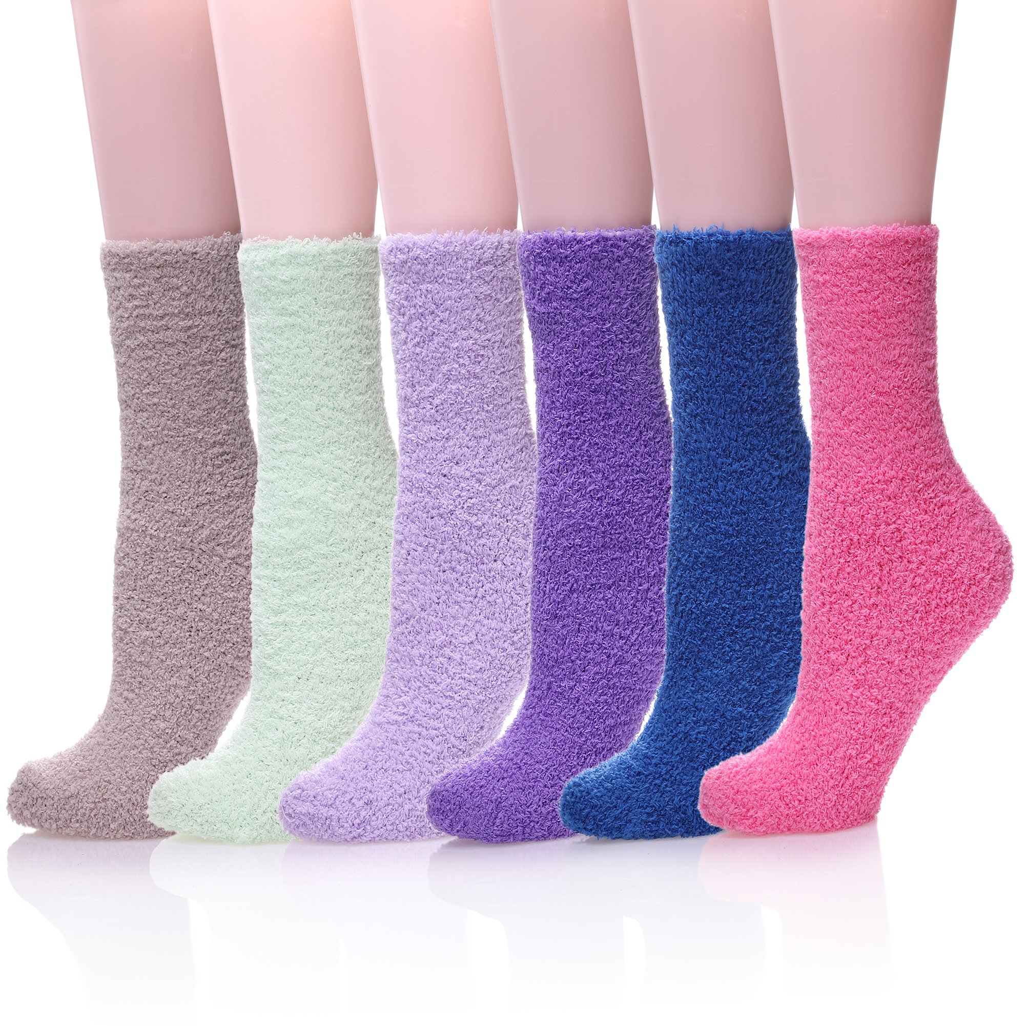 KAKAYAO Womens Super Soft Warm Home Slipper Socks Fuzzy Microfiber Cozy Winter Socks (6 Pairs Solid Colors)