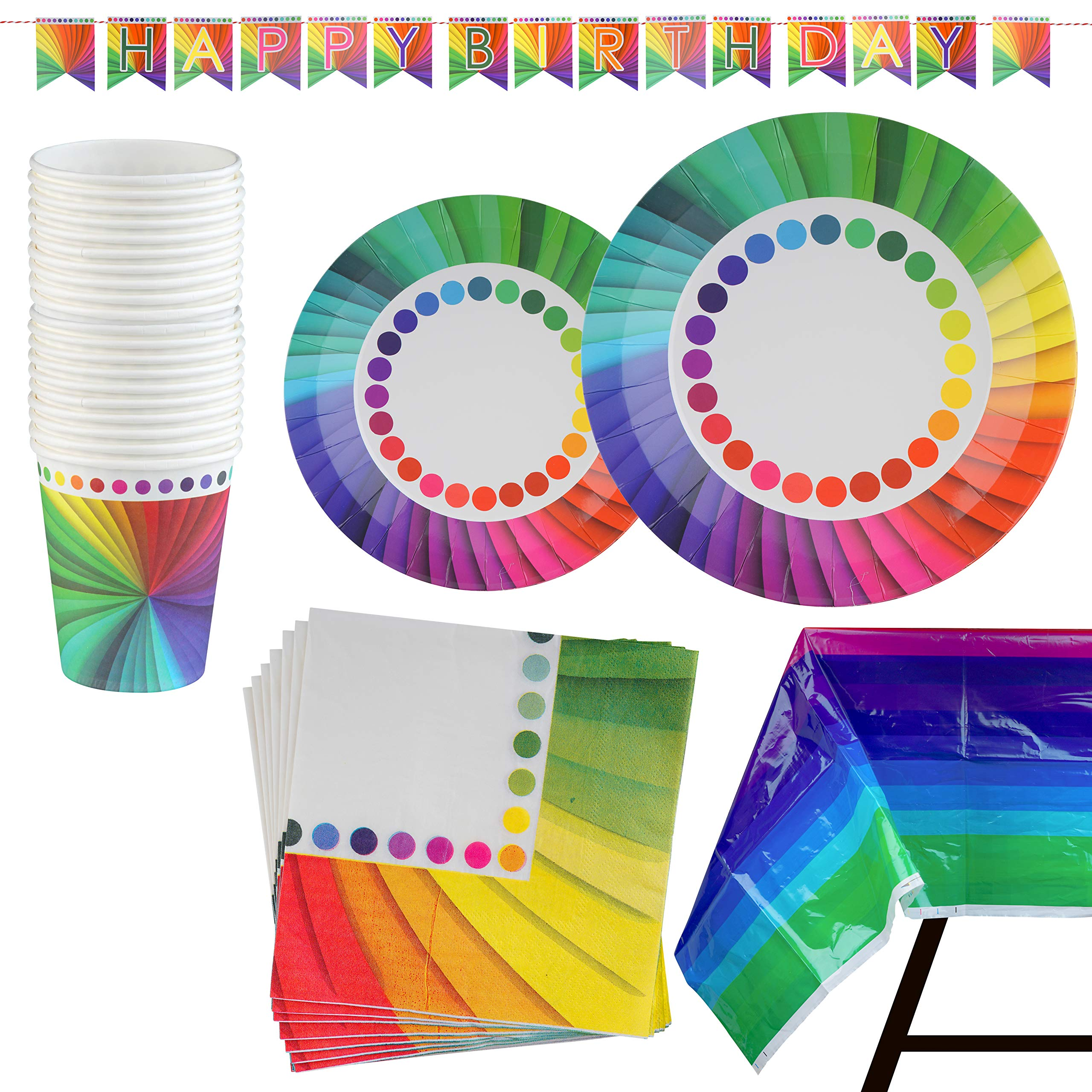 82 Piece Rainbow Party Set Including Banner, Plates, Cups, Napkins and Tablecloth, Serves 20