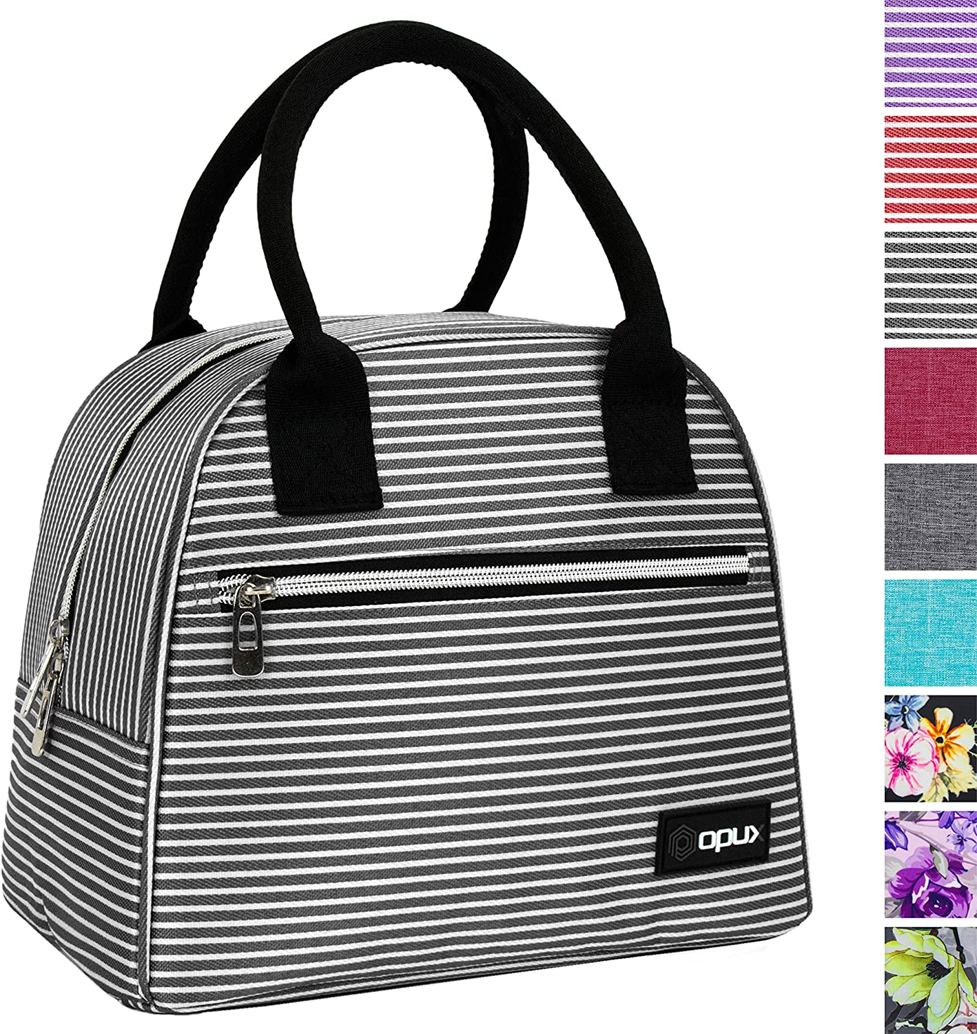 OPUX Lunch Box for Women | Insulated Lunch Bag Tote for Girls, Ladies, Teens | Cute Lunch Carrier Purse Cooler for School, Work, Office | Fits 12 Cans (Black White Stripes)