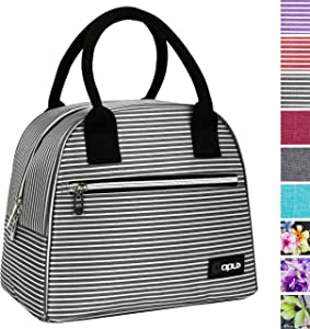 OPUX Lunch Box for Women   Insulated Lunch Bag Tote for Girls, Ladies, Teens   Cute Lunch Carrier Purse Cooler for School, Work, Office   Fits 12 Cans (Black White Stripes)