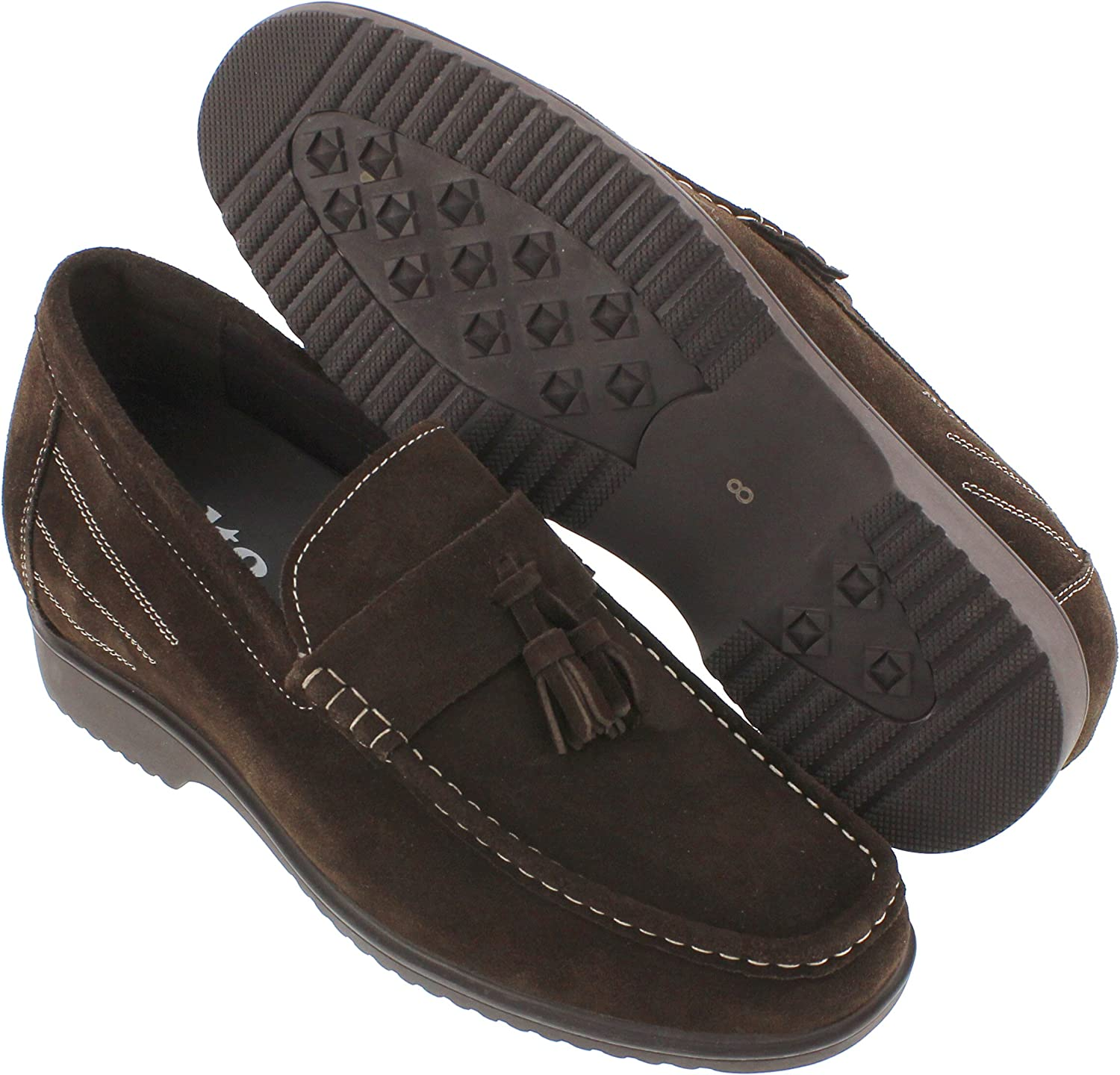 Dark Brown Suede Leather Slip-on Formal Tasel Loafers 3.3 Inches Taller G61211 CALTO Mens Invisible Height Increasing Elevator Dress Shoes