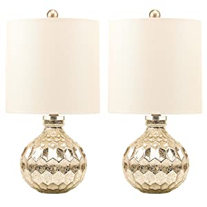 "2 x Silver Hexagon Mercury Glass Table Lamp With White Linen Drum Shade,Hand Crafted Elegant Bedroom Lamps For Nightstand Set Of 2,19"" High Harp Construction,E26 Medium Base"