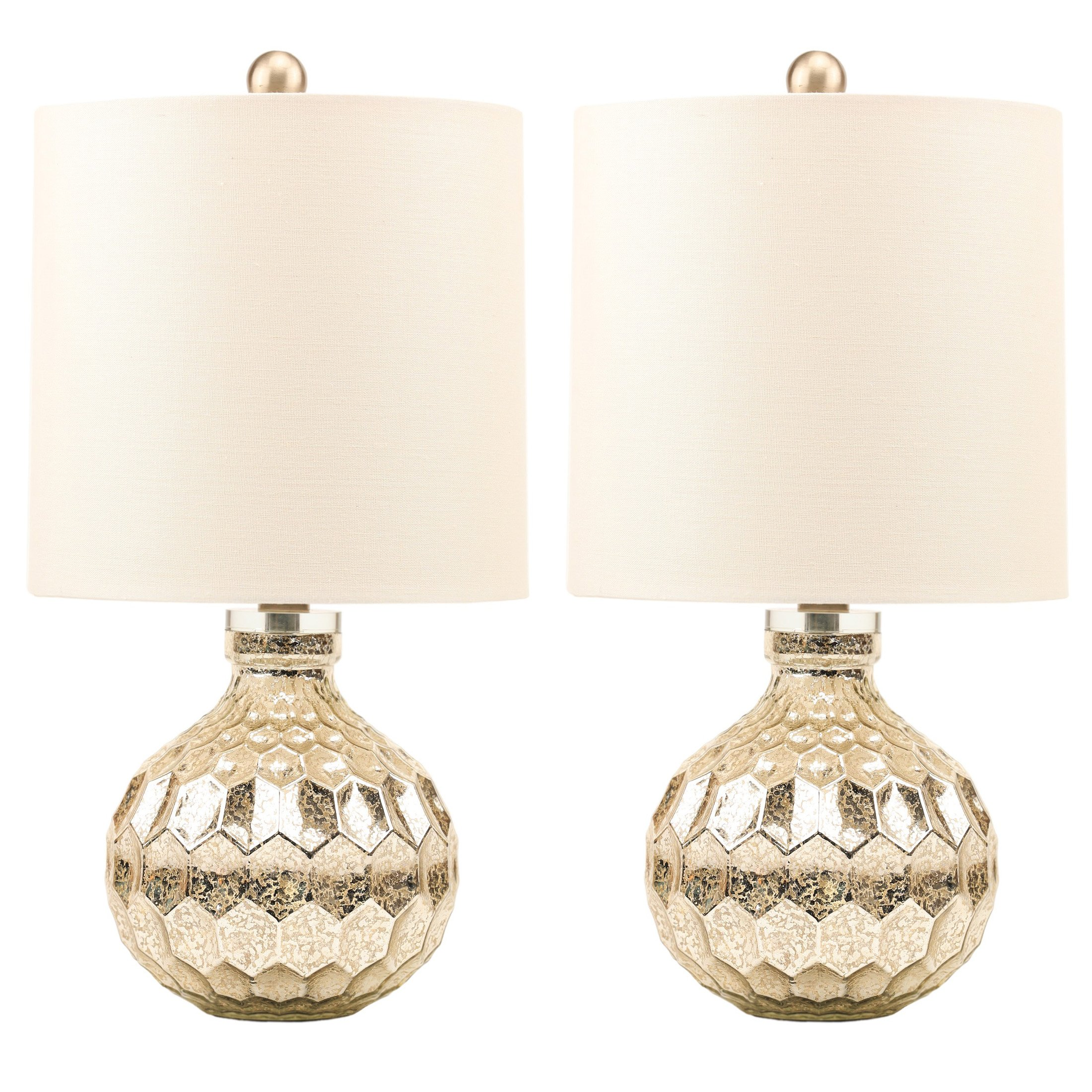 2 x Silver Hexagon Mercury Glass Table Lamp With White Linen Drum Shade,Hand Crafted Elegant Bedroom Lamps For Nightstand Set Of 2,19'' High Harp Construction,E26 Medium Base